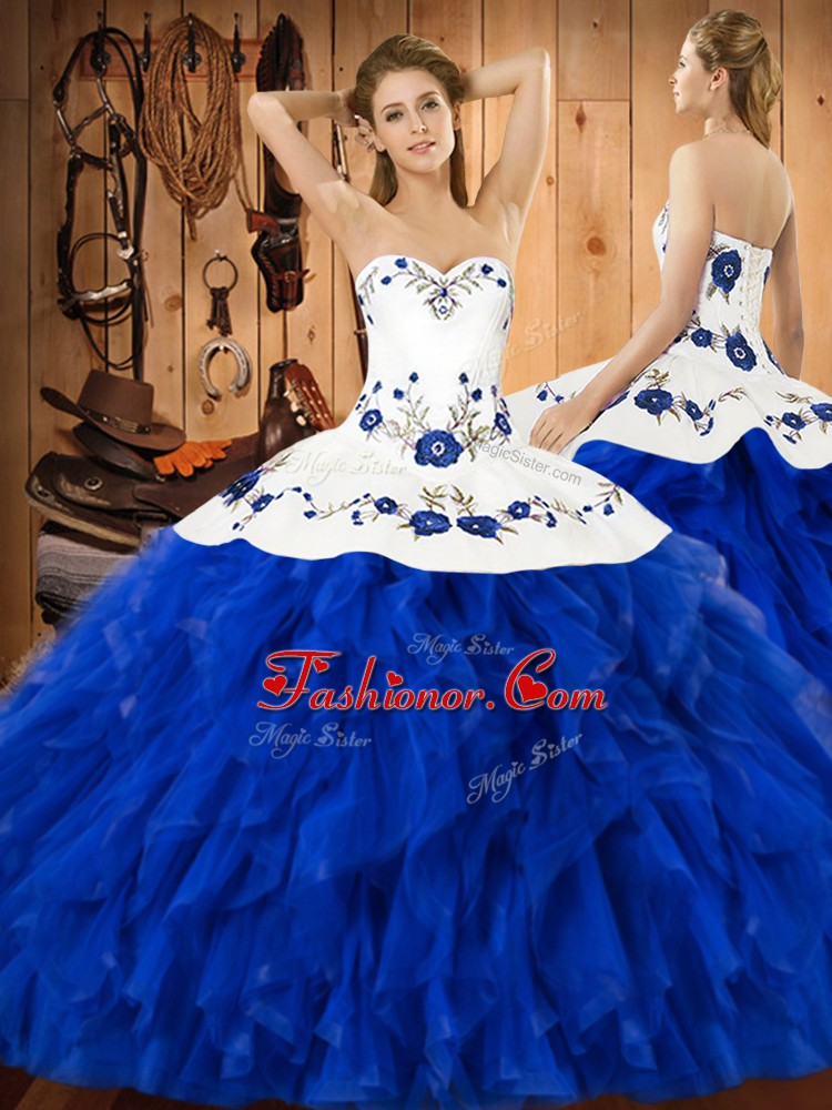 Beauteous Sleeveless Satin and Organza Floor Length Lace Up Quinceanera Gown in Blue And White with Embroidery and Ruffles
