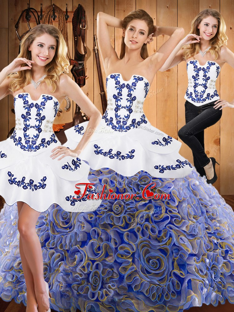 Strapless Sleeveless Quinceanera Dresses With Train Sweep Train Embroidery Multi-color Satin and Fabric With Rolling Flowers