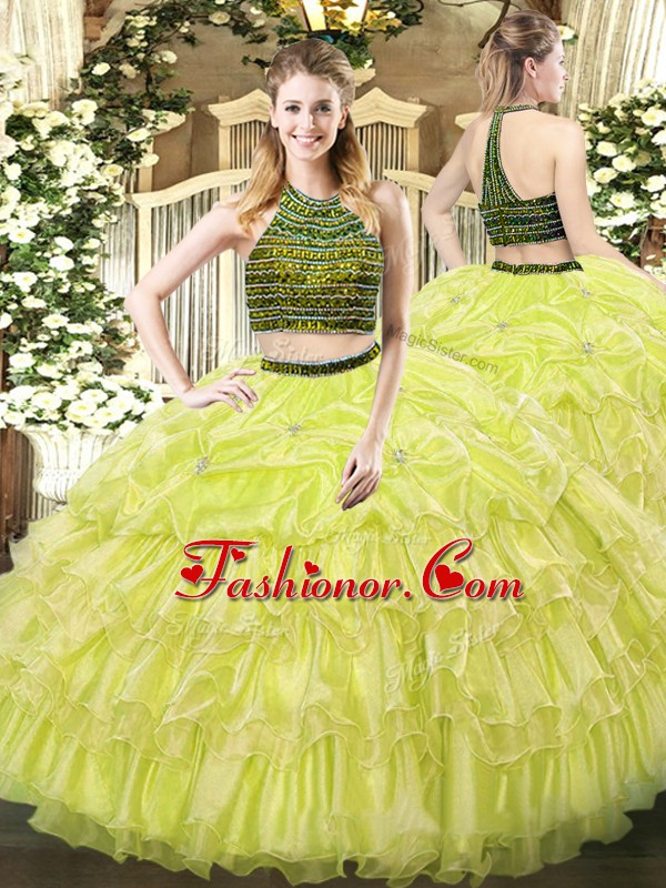 Enchanting Sleeveless Zipper Floor Length Beading and Ruffled Layers Quinceanera Dresses