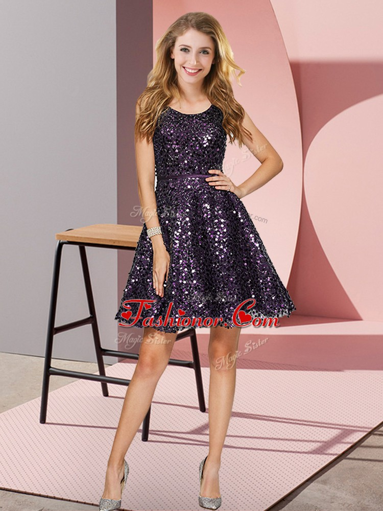 Black And Purple Sleeveless Sequins Mini Length Dama Dress for Quinceanera