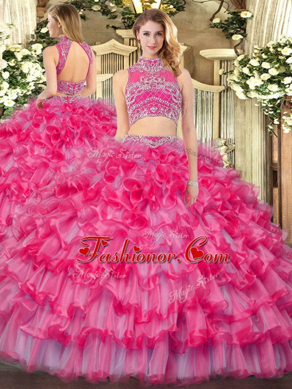 Fancy Coral Red High-neck Backless Beading and Ruffled Layers Quinceanera Gowns Sleeveless