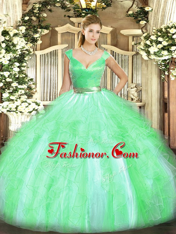 Graceful Apple Green Tulle Zipper Quinceanera Gowns Sleeveless Floor Length Beading and Ruffles