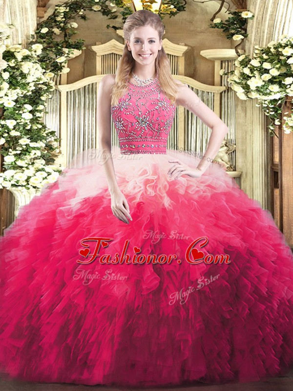 Sleeveless Floor Length Beading and Ruffles Zipper Quinceanera Gowns with Multi-color