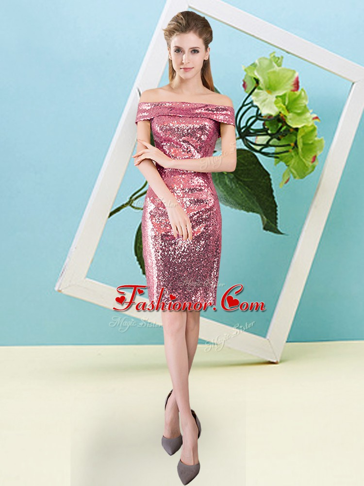 Coral Red Zipper Prom Evening Gown Sequins Short Sleeves Mini Length