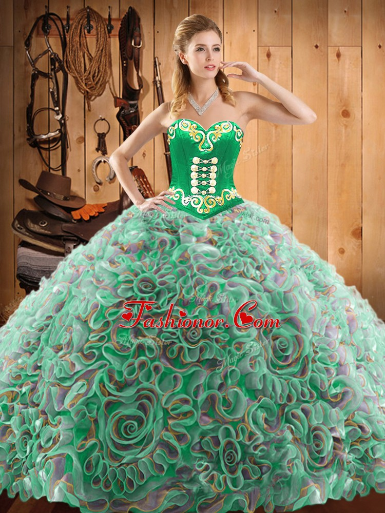Clearance Multi-color Sweetheart Neckline Embroidery Sweet 16 Quinceanera Dress Sleeveless Lace Up