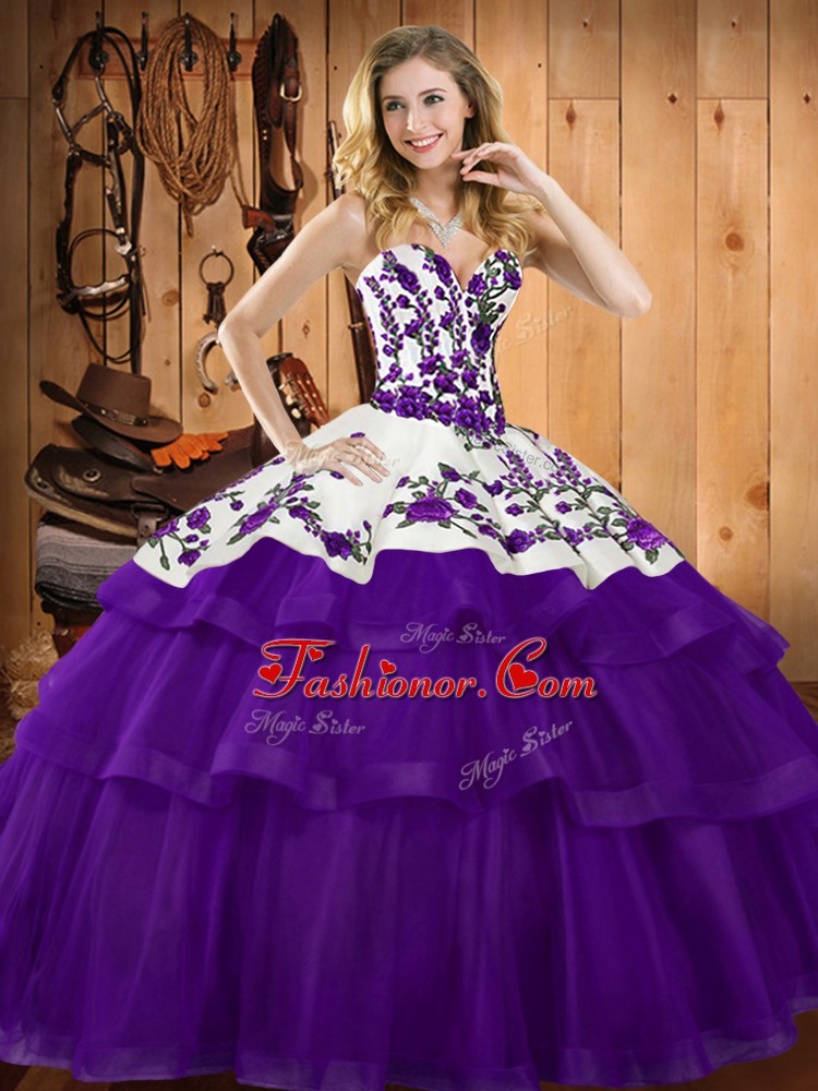 Purple Quinceanera Dresses Military Ball and Sweet 16 and Quinceanera with Embroidery Sweetheart Sleeveless Sweep Train Lace Up