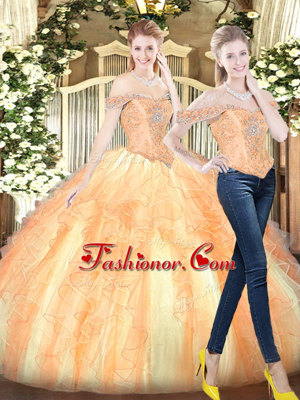 Sophisticated Ball Gowns 15 Quinceanera Dress Gold Off The Shoulder Organza Sleeveless Floor Length Lace Up