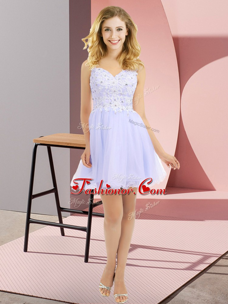 Nice V-neck Sleeveless Dama Dress for Quinceanera Mini Length Beading and Lace Lavender Tulle