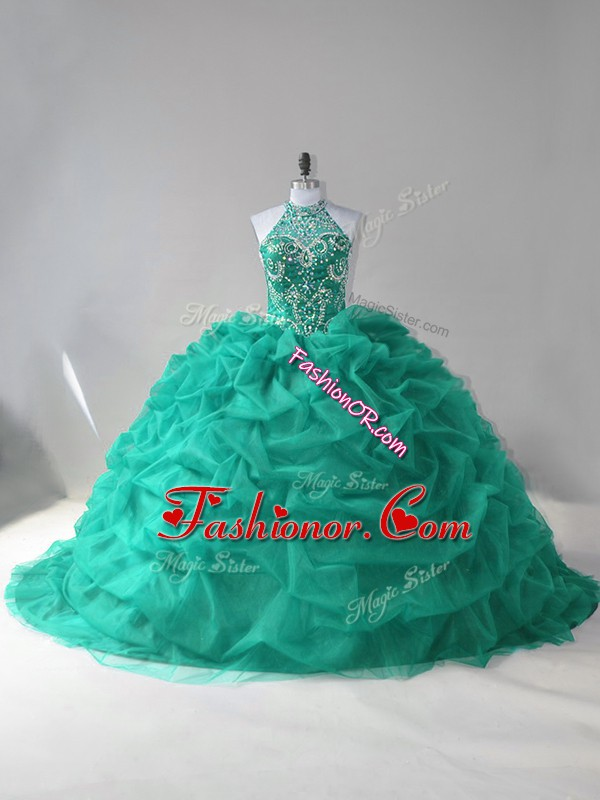 Inexpensive Beading and Pick Ups Ball Gown Prom Dress Turquoise Lace Up Sleeveless Court Train
