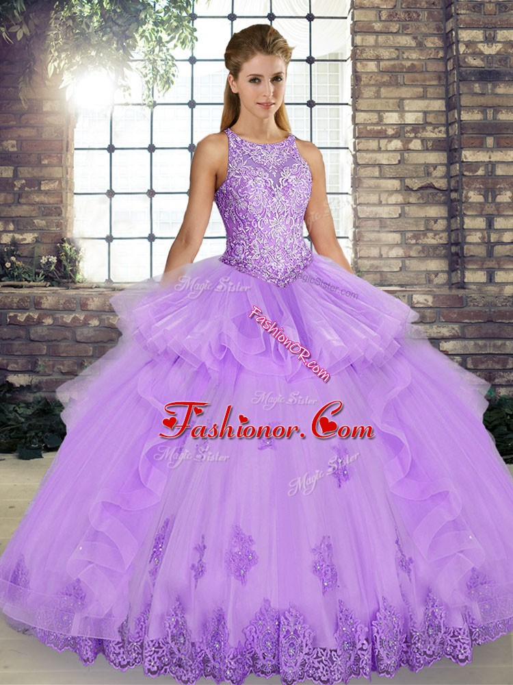 Superior Floor Length Lavender Quinceanera Dresses Scoop Sleeveless Lace Up