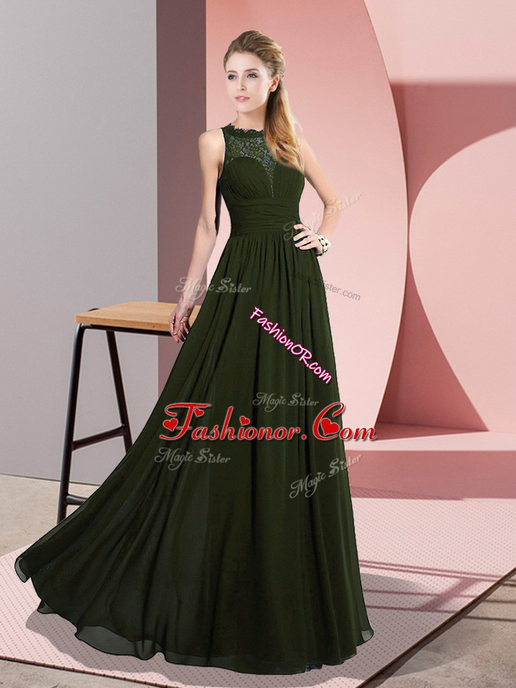 Graceful Scoop Sleeveless Prom Party Dress Floor Length Lace Olive Green Chiffon