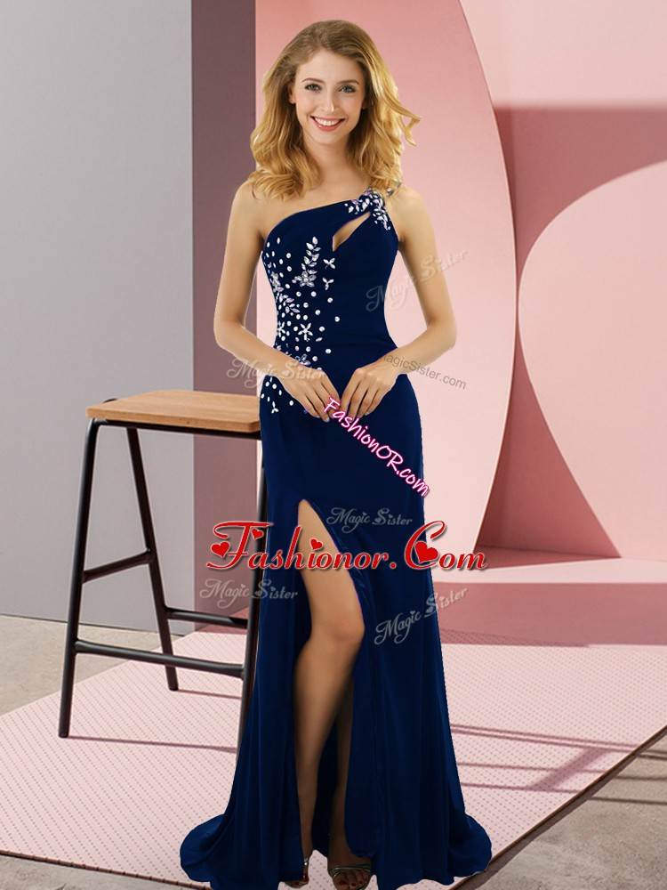 Royal Blue Lace Up Prom Gown Beading Sleeveless Sweep Train