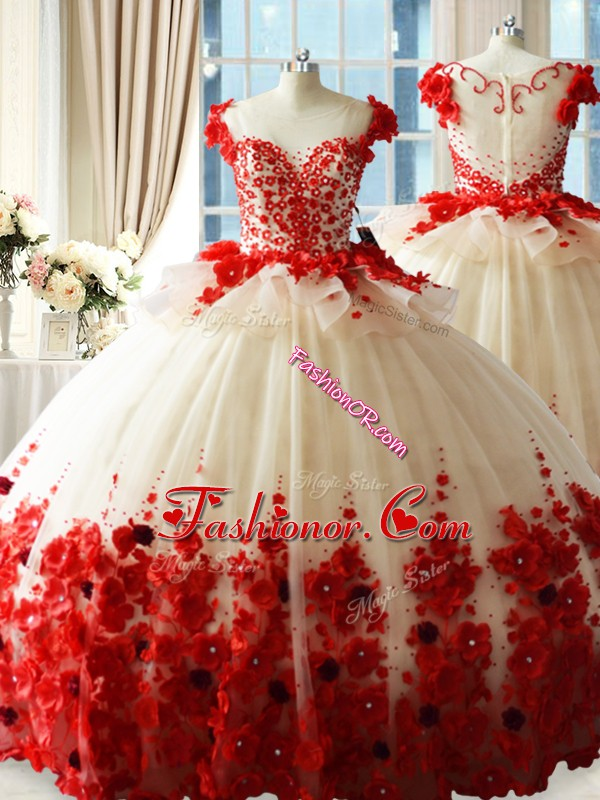 Brush Train Ball Gowns Quinceanera Gown White And Red Scoop Tulle Sleeveless Zipper
