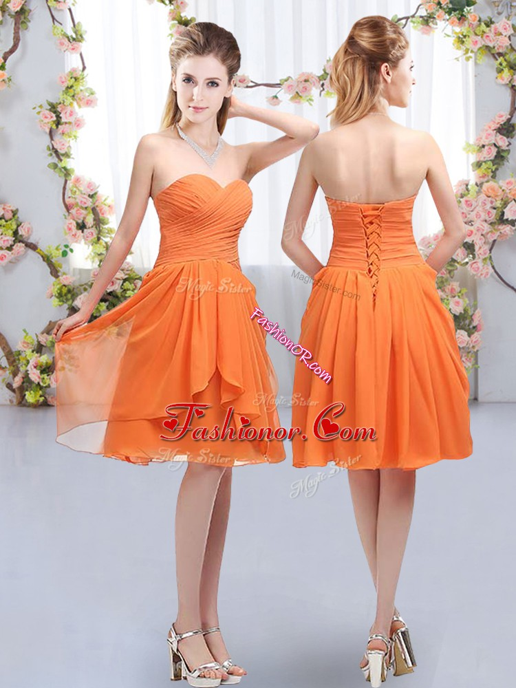 Lovely Chiffon Sleeveless Knee Length Damas Dress and Ruffles and Ruching