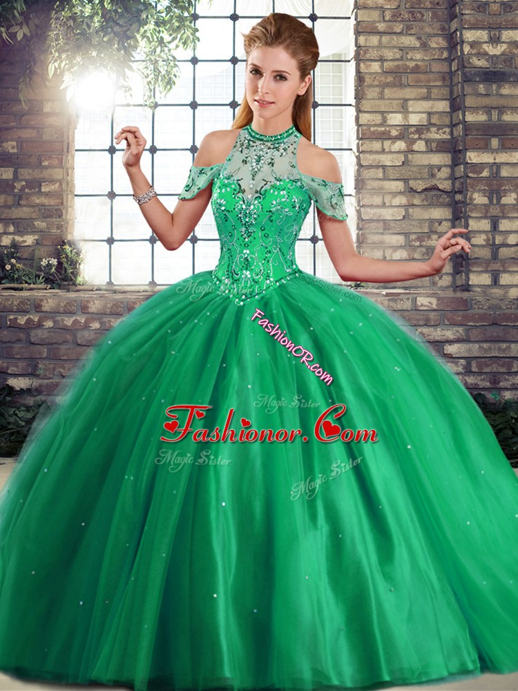 Green Tulle Lace Up Vestidos de Quinceanera Sleeveless Brush Train Beading
