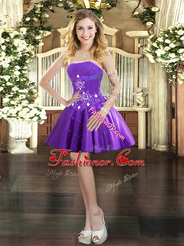 Dynamic Mini Length Purple Prom Dress Tulle Sleeveless Beading and Appliques