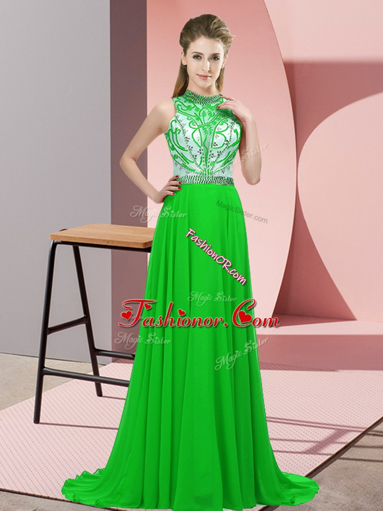 Green Prom Dress Chiffon Brush Train Sleeveless Beading