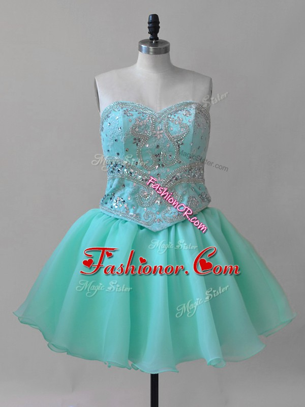 Free and Easy Organza Sweetheart Sleeveless Lace Up Beading and Lace Evening Dress in Aqua Blue