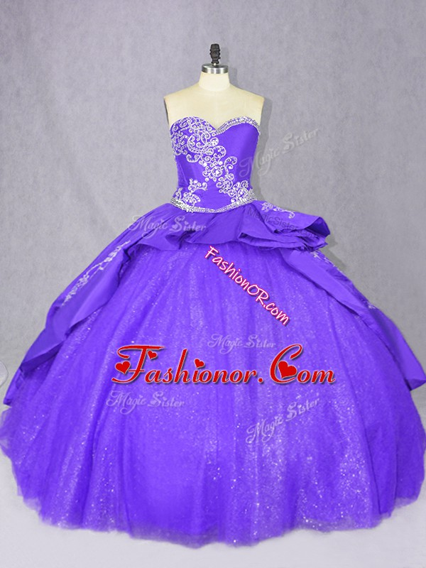 Beautiful Purple Ball Gowns Embroidery Quinceanera Gown Lace Up Tulle Sleeveless
