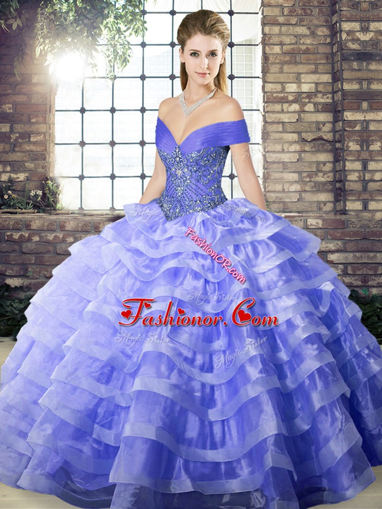 Gorgeous Sleeveless Beading and Ruffled Layers Lace Up Quinceanera Gown with Lavender Brush Train