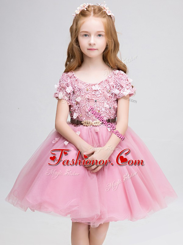 Sweet Pink Short Sleeves Tulle Lace Up Flower Girl Dresses for Less for Wedding Party