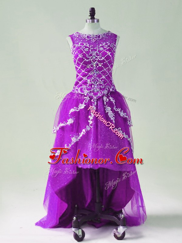 Fashion Purple Sleeveless Tulle Zipper Prom Gown for Prom and Party