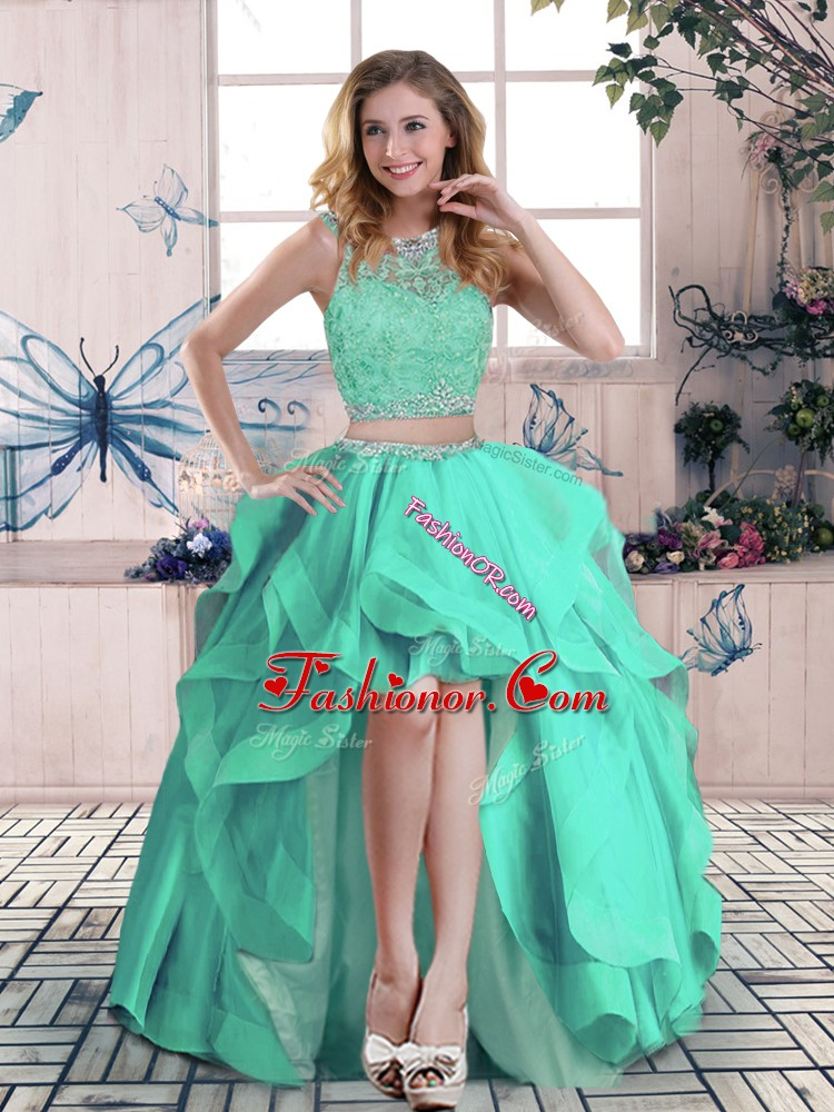 Beading and Lace and Ruffles Prom Dresses Apple Green Zipper Sleeveless High Low