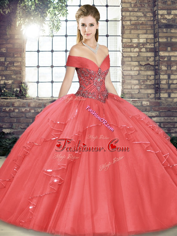 Off The Shoulder Sleeveless Tulle Quinceanera Gown Beading and Ruffles Lace Up