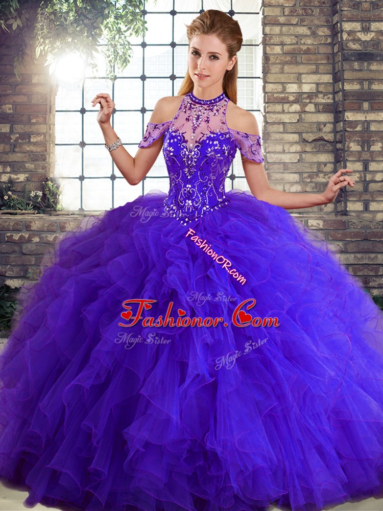 Beading and Ruffles Quinceanera Gown Purple Lace Up Sleeveless Floor Length