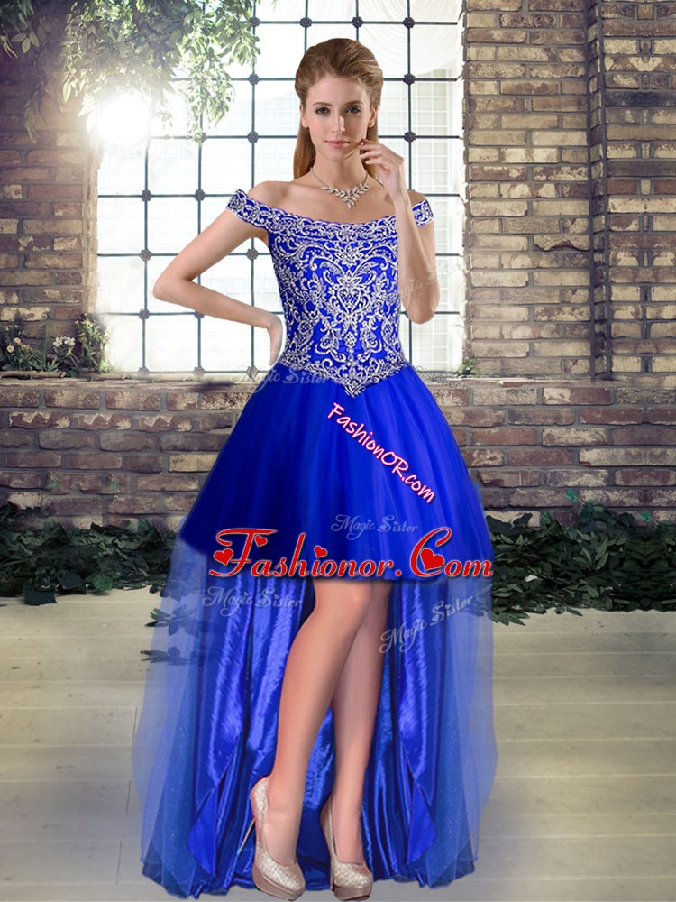 Inexpensive Sleeveless Beading Lace Up Prom Dress