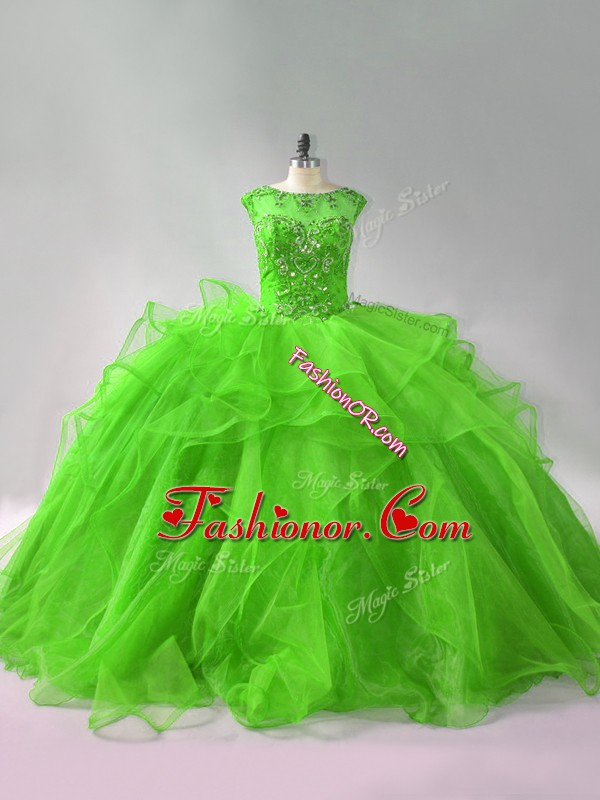 Ball Gowns Sleeveless Sweet 16 Dresses Brush Train Lace Up