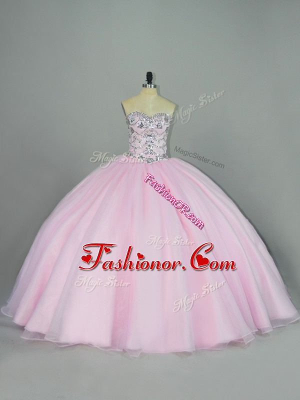 Excellent Sweetheart Sleeveless Lace Up 15th Birthday Dress Baby Pink Tulle