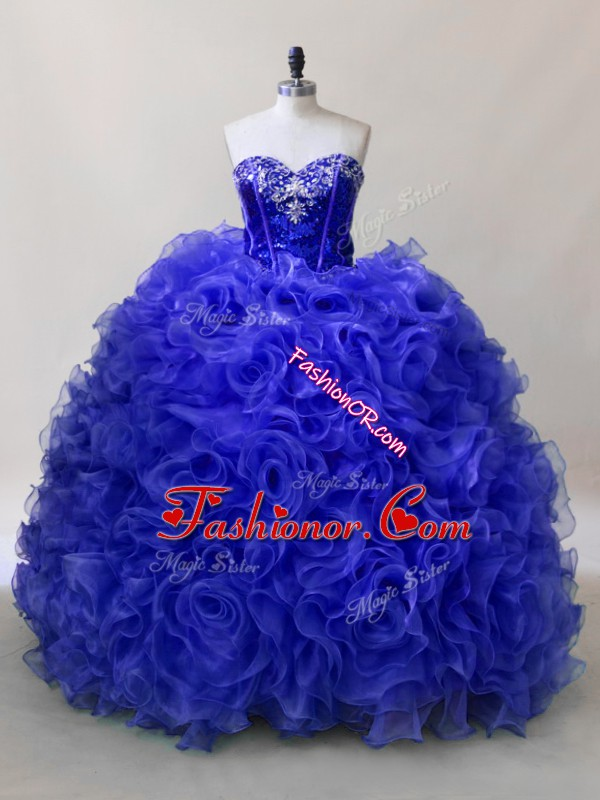 Graceful Royal Blue Sleeveless Floor Length Ruffles and Sequins Lace Up Sweet 16 Dress