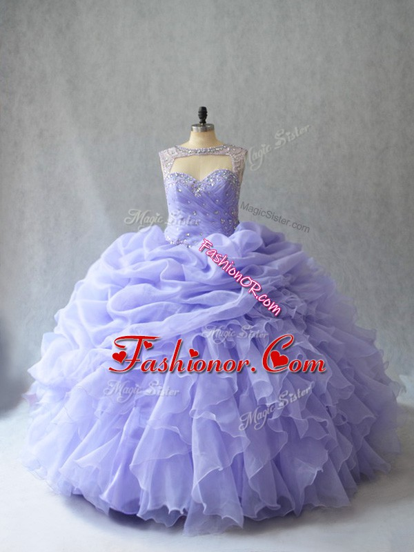 Ball Gowns Sleeveless Lavender 15th Birthday Dress Brush Train Lace Up