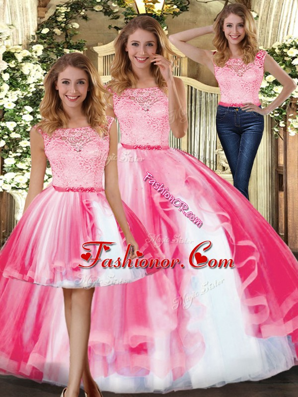 Sleeveless Clasp Handle Floor Length Lace and Ruffles Sweet 16 Quinceanera Dress