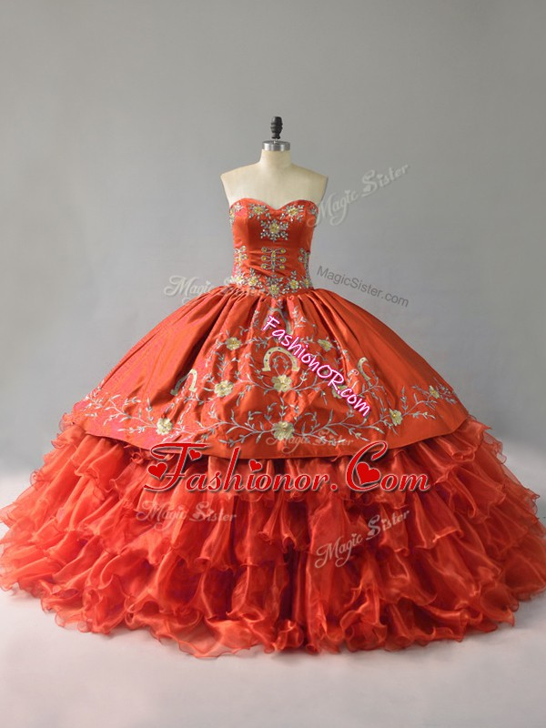 Cheap Orange Red Ball Gowns Sweetheart Sleeveless Satin and Organza Floor Length Lace Up Embroidery and Ruffles Quinceanera Gowns