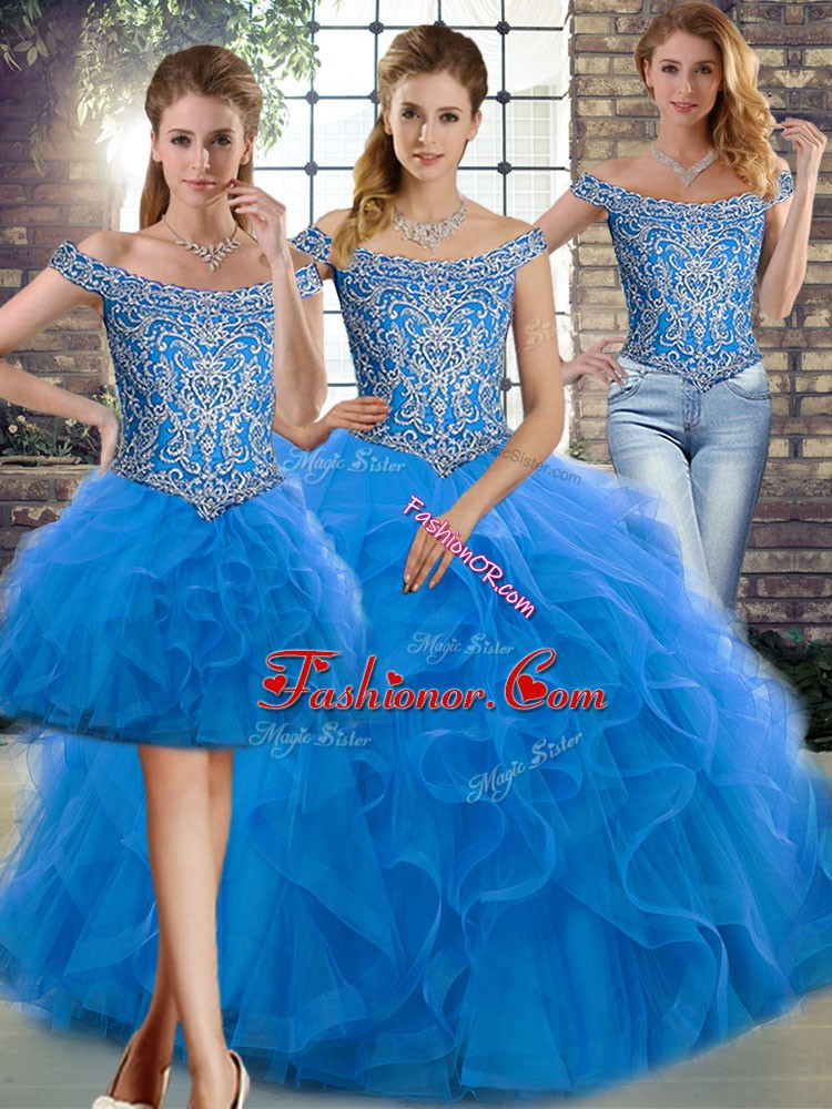 Artistic Blue Off The Shoulder Lace Up Beading and Ruffles Quince Ball Gowns Brush Train Sleeveless