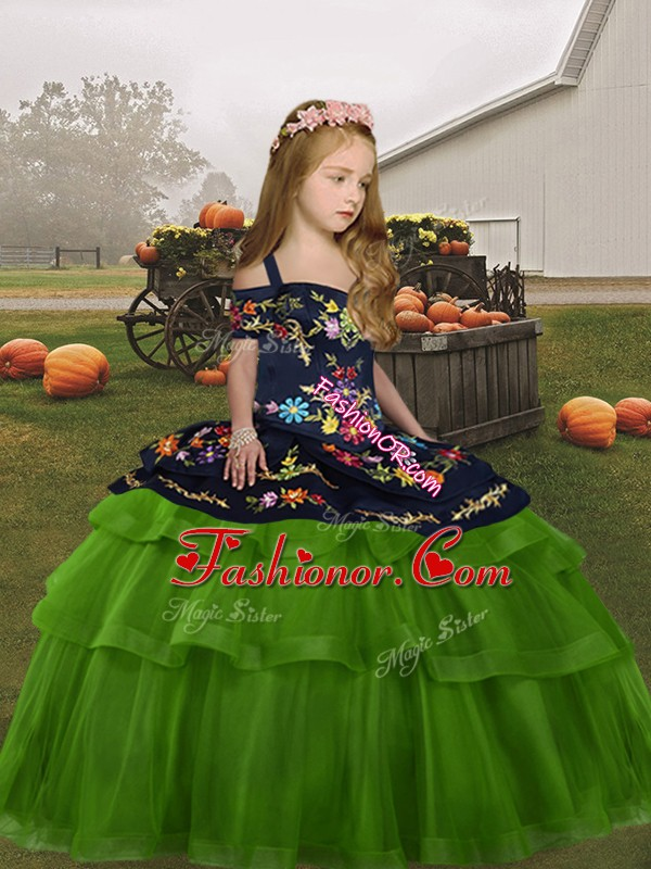 Green Lace Up Straps Embroidery Pageant Gowns For Girls Tulle Sleeveless