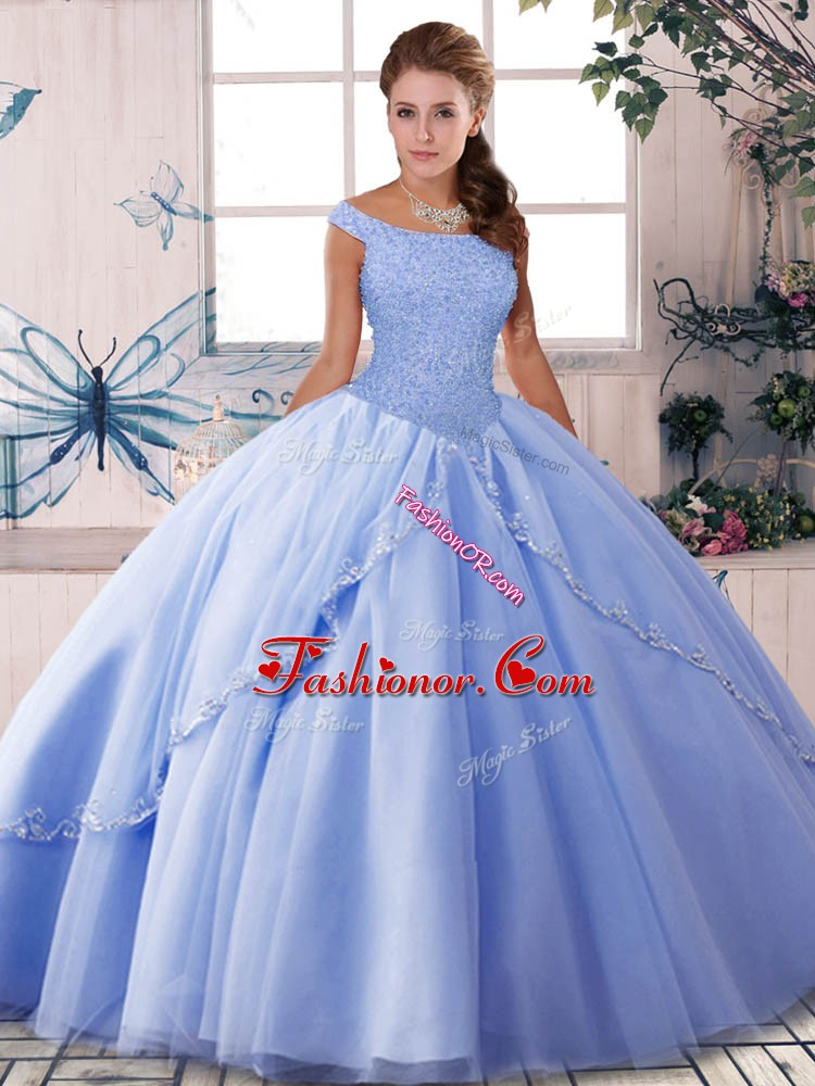 Custom Designed Off The Shoulder Sleeveless Brush Train Lace Up Quince Ball Gowns Lavender Tulle