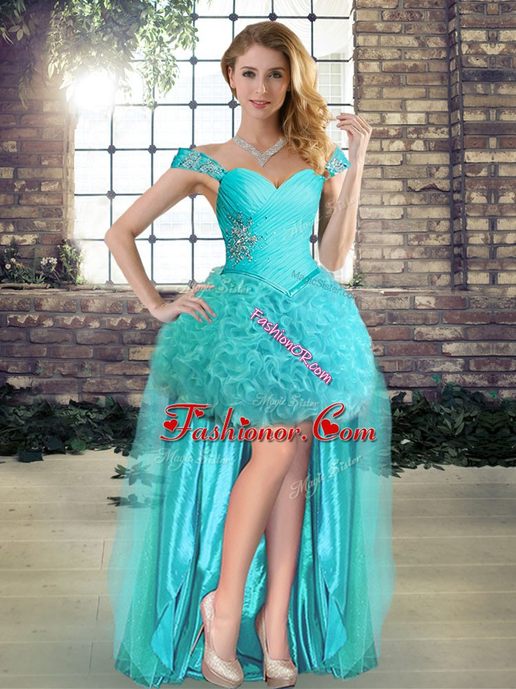 Aqua Blue Off The Shoulder Lace Up Beading Prom Evening Gown Sleeveless