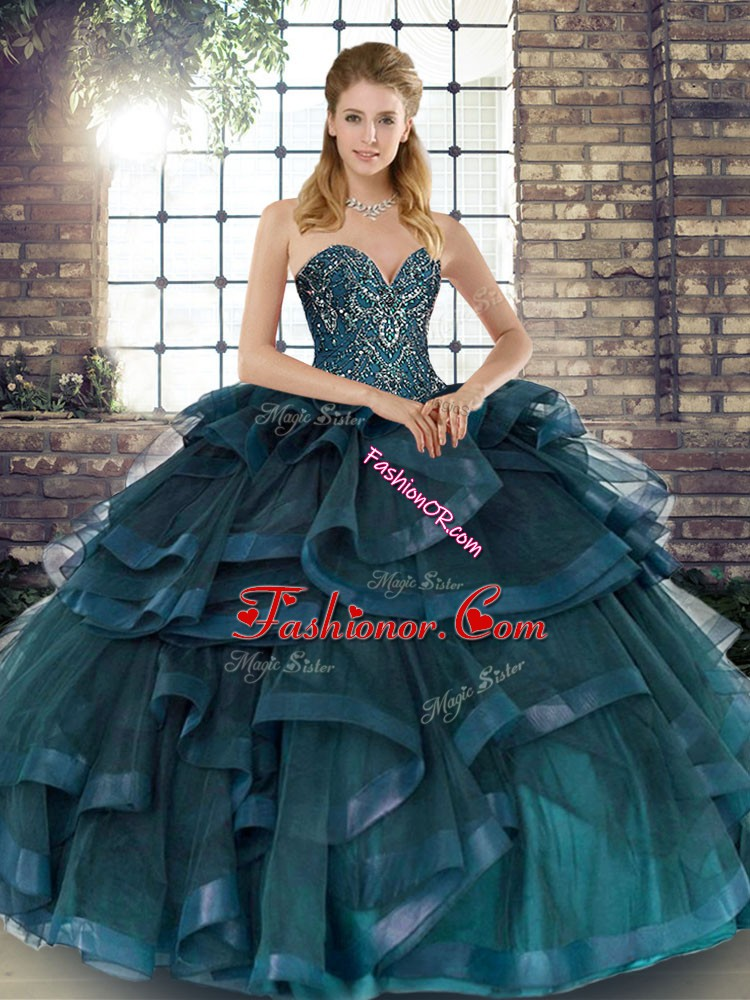 Edgy Teal Ball Gowns Tulle Sweetheart Sleeveless Beading and Ruffles Floor Length Lace Up Quinceanera Dresses