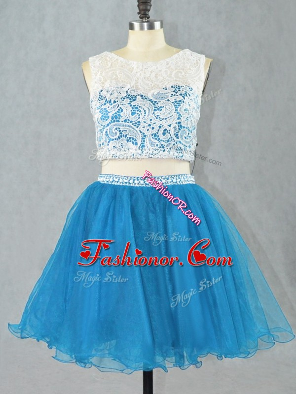 Decent Blue Scoop Zipper Lace Prom Party Dress Sleeveless