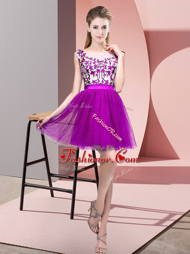 Popular Purple Sleeveless Tulle Zipper Dama Dress for Wedding Party