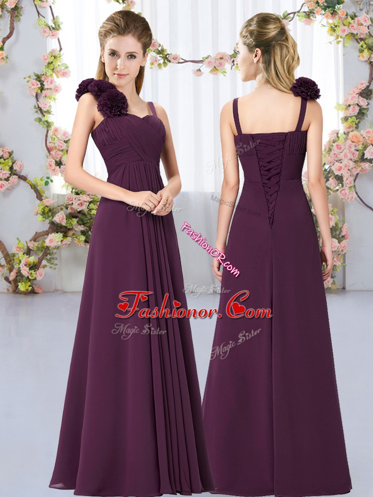 Flare Floor Length Empire Sleeveless Dark Purple Quinceanera Dama Dress Lace Up