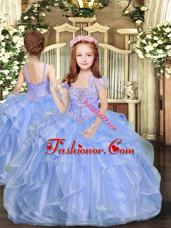 Floor Length Blue Pageant Dress Straps Sleeveless Lace Up