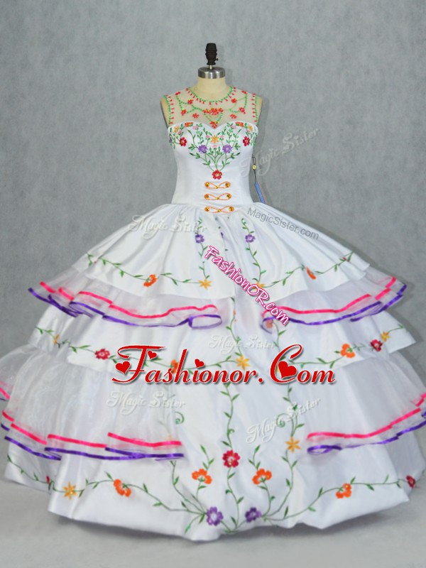 White Scoop Lace Up Embroidery and Ruffled Layers 15 Quinceanera Dress Sleeveless