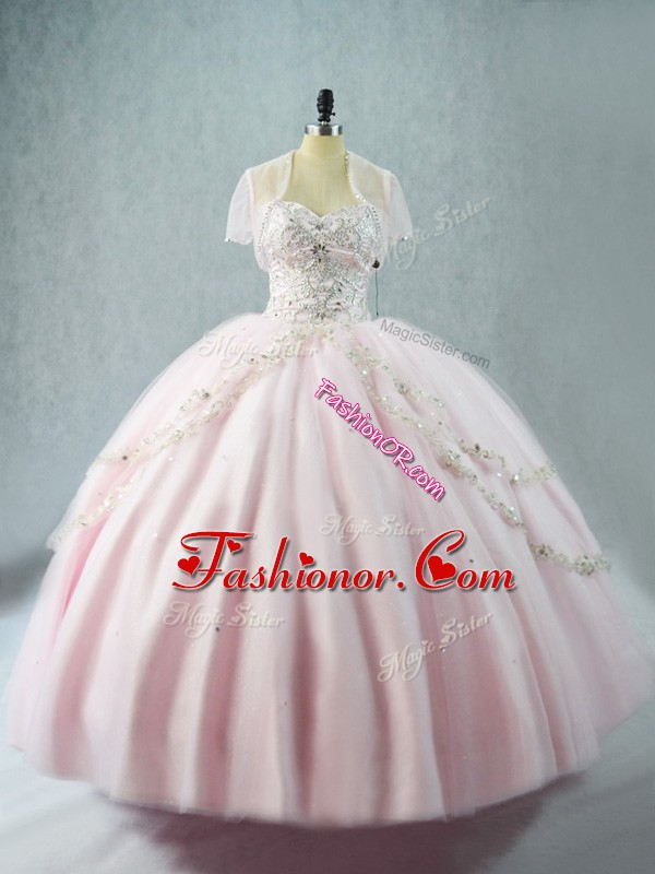 Custom Designed Sweetheart Sleeveless Lace Up Quinceanera Dress Pink Tulle
