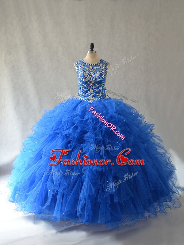 Blue Scoop Neckline Beading and Ruffles Ball Gown Prom Dress Sleeveless Side Zipper