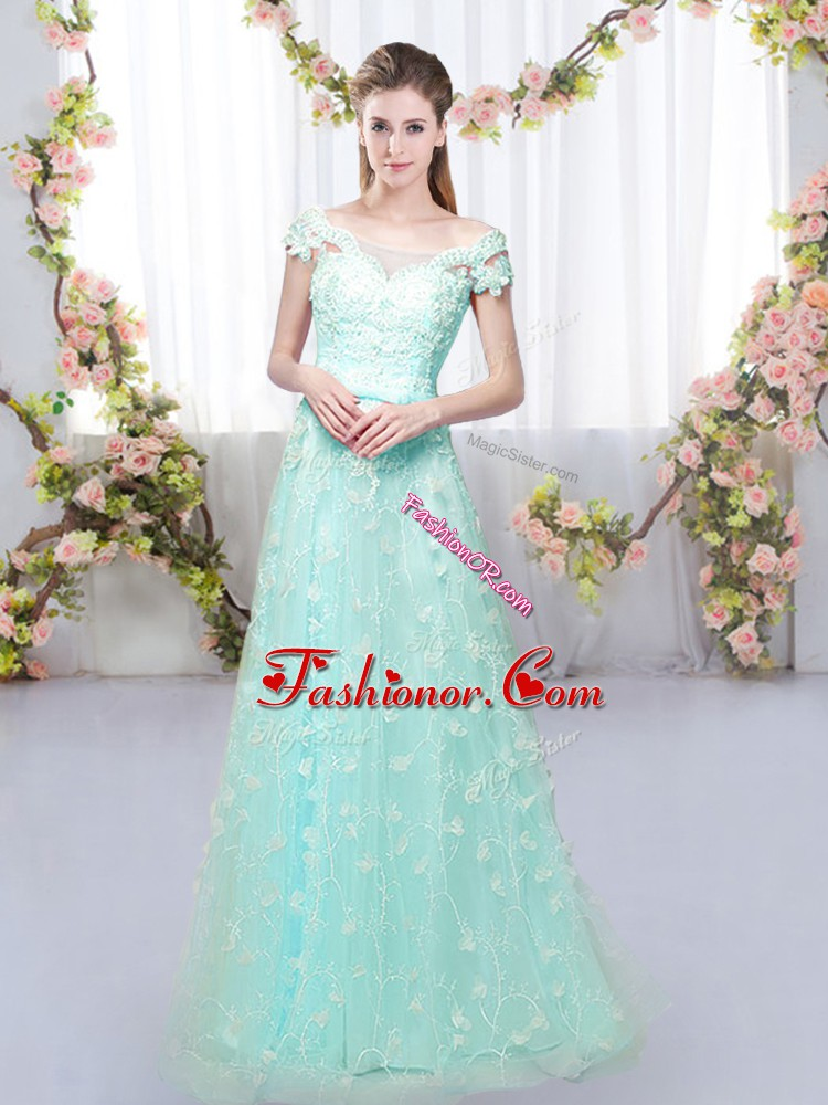 Customized Floor Length Empire Cap Sleeves Apple Green Dama Dress for Quinceanera Lace Up