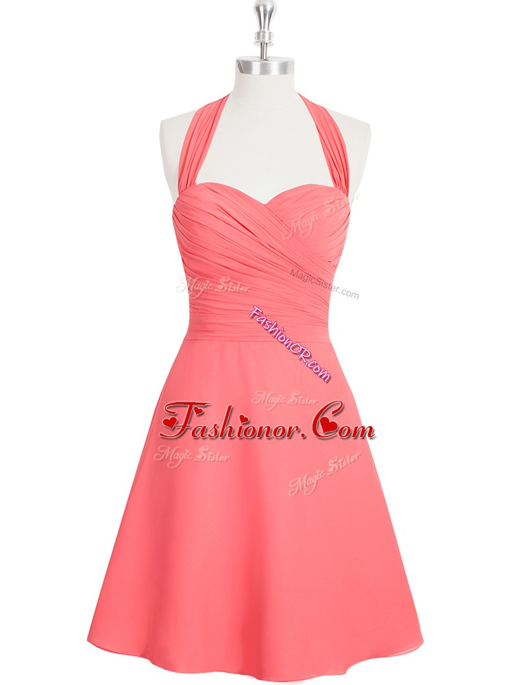 Glittering A-line Prom Gown Watermelon Red Halter Top Chiffon Sleeveless Mini Length Zipper